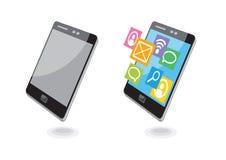 Mobiele de navigatiemededeling van telefoontoepassingen Stock Foto