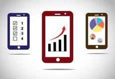 Mobiele de pictogrammeninfographics van bedrijfsvooruitgangsgrafieken Royalty-vrije Stock Afbeeldingen