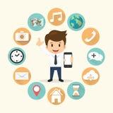 Mobiele de toepassings vastgestelde vectorillustratie van de zakenmanrand Stock Afbeelding