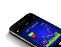 Mobiele die telefoon met effectenbeursgrafiek over wit wordt geïsoleerd Stock Foto