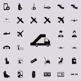 mobiele doorgang voor vliegtuigenpictogram Dat voor Web wordt geplaatst en het mobiele algemene begrip van luchthavenpictogrammen stock illustratie