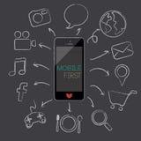 Mobiele eerste, vectorillustratie Stock Foto