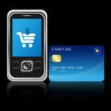 Mobiele elektronische handel Stock Fotografie
