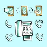 Mobiele en niet verplaatsbare telefoonpictogrammen voor app en Web Vectorpop-arttekens Royalty-vrije Stock Foto