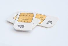 Mobiele 3G geheugen sim kaarten Stock Afbeeldingen