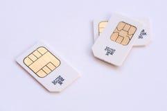 Mobiele geheugen sim kaarten Stock Foto