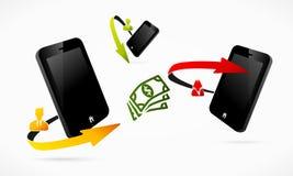 Mobiele geldoverdracht vector illustratie