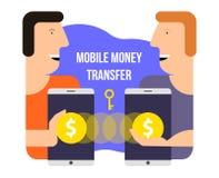 Mobiele geldoverdracht Online bankwezen Vector illustratie Stock Foto's