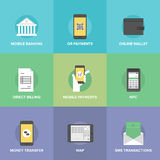 Mobiele geplaatste betalingen vlakke pictogrammen Royalty-vrije Stock Afbeelding