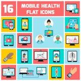 Mobiele geplaatste gezondheidspictogrammen Stock Afbeelding