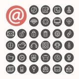 Mobiele geplaatste Interfacepictogrammen Illustratie Stock Foto