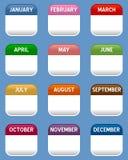 Mobiele Geplaatste Kalenderpictogrammen Royalty-vrije Stock Afbeeldingen