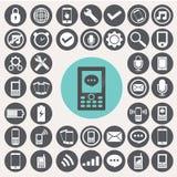 Mobiele geplaatste pictogrammen Royalty-vrije Stock Foto's