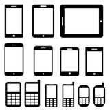 Mobiele geplaatste telefoons en tabletten Royalty-vrije Stock Foto's