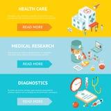 Mobiele gezondheidszorg en medisch onderzoekbanners royalty-vrije illustratie