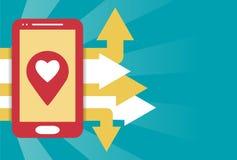 Mobiele gps van Smartphone vlakke illustratie Royalty-vrije Stock Afbeeldingen