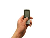 Mobiele in hand Royalty-vrije Stock Foto