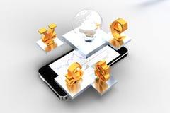 Mobiele handel Stock Foto's