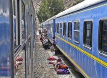 Mobiele handel bij een peruan trein royalty-vrije stock afbeeldingen