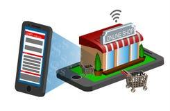 Mobiele het winkelen elektronische handel Royalty-vrije Stock Afbeelding