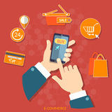 Mobiele het winkelen slimme telefoonelektronische handel vectorconcept Stock Foto's