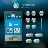 Mobiele interface en vectorelementen. Stock Illustratie