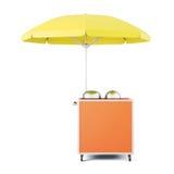 Mobiele kar met geïsoleerde paraplu het 3d teruggeven Royalty-vrije Stock Afbeeldingen