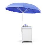 Mobiele kar met paraplu voor geïsoleerd verkoopvoedsel het 3d teruggeven Stock Foto
