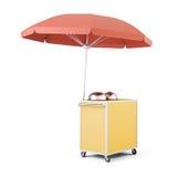 Mobiele kar met paraplu voor verkoopvoedsel het 3d teruggeven Royalty-vrije Stock Foto's