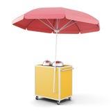 Mobiele kar met rode geïsoleerde paraplu het 3d teruggeven Royalty-vrije Stock Fotografie