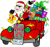 Mobiele kerstman Stock Foto's