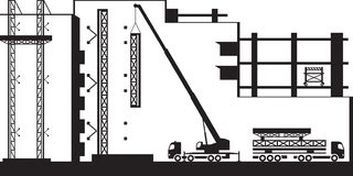 Mobiele kraan het opzetten steiger bij de nieuwe bouw vector illustratie