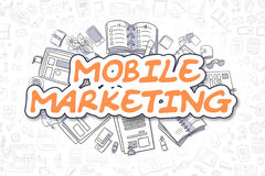 Mobiele Marketing - Beeldverhaal Oranje Tekst Bedrijfs concept stock illustratie