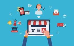 Mobiele marketing en online opslag Stock Afbeelding