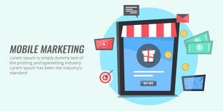 Mobiele marketing - mobiele handel, mobiel het winkelen concept Vlakke ontwerp vector marketing banner Stock Foto