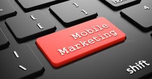 Mobiele Marketing op Rode Toetsenbordknoop Stock Afbeelding