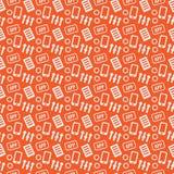 Mobiele Ontwikkelaar naadloze textuur op een oranje achtergrond Royalty-vrije Stock Foto