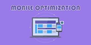 Mobiele optimalisering, ontvankelijk inhoudsontwerp, ontwikkeling, mobiel de strategieconcept van de Weboptimalisering Vlakke ont vector illustratie