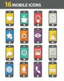 16 mobiele pictogrammen Stock Afbeeldingen