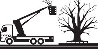 Mobiele platformvrachtwagen voor scherpe bomen vector illustratie
