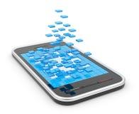 Mobiele slimme telefoon met abstracte 3D vormen Stock Afbeelding