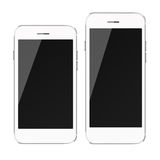 Mobiele slimme telefoons met het zwarte die scherm op witte achtergrond wordt geïsoleerd Stock Afbeelding