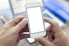 Mobiele smartphone met het lege witte scherm royalty-vrije stock afbeelding