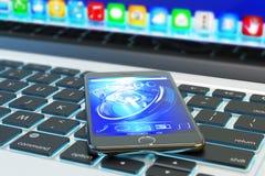 Mobiele technologie, communicatieapparatuur en mobiliteitsconcept Royalty-vrije Stock Afbeelding