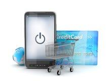 Mobiele technologie in het winkelen - conceptenillustratie Royalty-vrije Stock Foto's