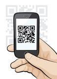 Mobiele telefoon in de mannelijke code van het handaftasten qr Royalty-vrije Stock Afbeelding