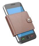 Mobiele telefoon in de portefeuille Stock Afbeelding