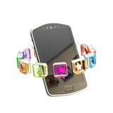 Mobiele telefoon die met toepassingen wordt omringd vector illustratie