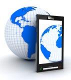 Mobiele telefoon en Aarde Royalty-vrije Stock Afbeeldingen