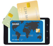 Mobiele telefoon en creditcards Stock Fotografie